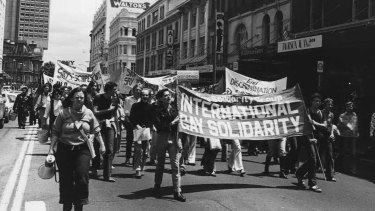The morning march of the of the 1978 Mardi Gras Gay Solidarity Group protests in Sydney.