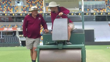 Retiring Gabba curator Kevin Mitchell talks with new curator David Sandurski
