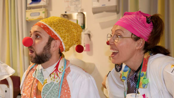 Clown doctors brighten sick kids' day at Canberra Hospital