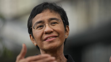 Philippine journalist and Rappler CEO Maria Ressa after learning that the Nobel Peace Prize was awarded to her and journalist Dmitry Muratov of Russia for their fight for freedom of expression.