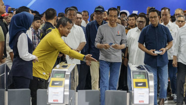 Indonesian President Joko Widodo, pictured at the 'soft' opening of Jakarta's first subway, has made spending on infrastructure a priority.