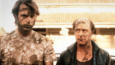 Sam Neill (left) as Carl and John Clarke as his mate Dave in the offbeat comedy Death in Brunswick.