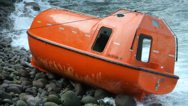 The Australian lifeboat which brought 28 asylum seekers back to Indonesia in February 2014.