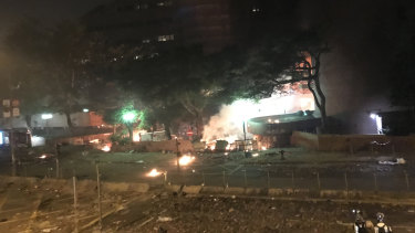 Fire breaks out at Hong Kong Polytechnic University.