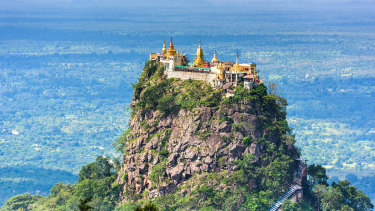 Mount Popa in Myanmar, home to the newly identified primate.
