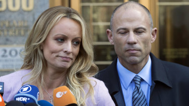 Lawsuits involving adult film actress Stormy Daniels (pictured with her lawyer Michael Avenatti) are becoming a major headache for Donald Trump.