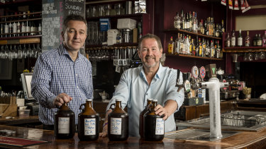 CUB chief executive Peter Filipovic (left) with publican Bob O'Kane from the All Nations Hotel, Richmond.