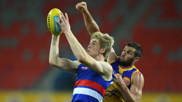 Pole position: Western Bulldogs ruckman Tim English gets out in front.