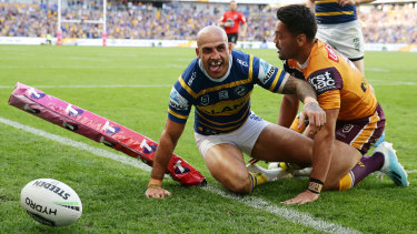Blake Ferguson scored Parramatta's third try of the afternoon.