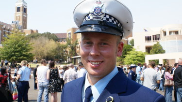 Michael Maynes on the day of his police academy graduation. He took his own life three years after leaving the force after years of homophobic bullying.