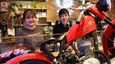 Hu Huiyyun, right, and friend at the American style Kiehl's beauty-cafe in Beijing.