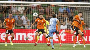 Screamer: Joshua Brillante fires home for City against Brisbane at AAMI Park in Melbourne.