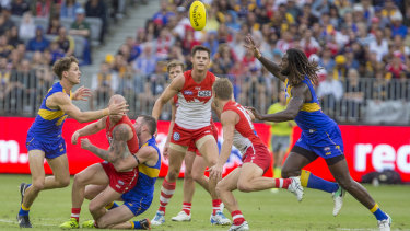 Nic Naitanui's ability to take possession after a ruck contest is a massive advantage for West Coast.