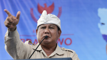 Indonesian presidential candidate Prabowo Subianto delivers his speech during a rally in Bali last week. Indonesia is gearing up to hold its presidential election on April 17.