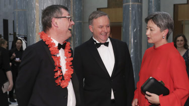 David Crowe, chief political correspondent for The Sydney Morning Herald and The Age, with Opposition Leader Anthony Albanese and Labor's foreign affairs spokeswoman Penny Wong.