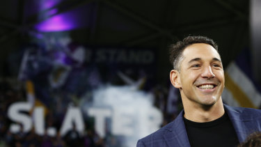 New era: the win over Brisbane was Melbourne's first in the era after Billy Slater, who now has a stand named after him at AAMI Park.