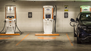 An electric vehicle charging station in Zetland.