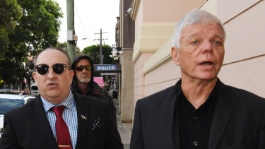 Rightwing extremist Nathan Sykes, left, outside Newtown Local Court with Australia First Party chairman Jim Saleam, right.