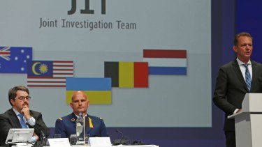 Fred Westerbeke, right, of the Joint Investigation Team elaborates on the preliminary results of the investigation into the shooting-down of Malaysia Airlines jetliner flight MH17 during a press conference in Nieuwegein in 2016.
