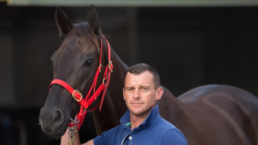 Tasmanian trainer Adam Trinder with his Cox Plate hope Mystic Journey.