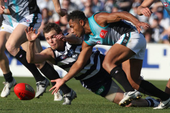 Port's David Rodan and Geelong's Cameron Mooney dive for the ball.