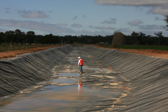 The Water Efficiency Program was designed to recover water through voluntary on-farm projects like lining irrigation channels, like this one near Shepparton.