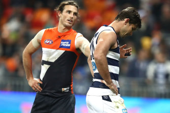 Tom Hawkins looks dejected after missing the shot after the siren.