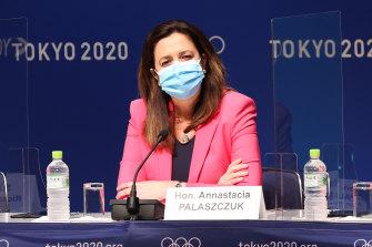 Premier Annastacia Palaszczuk at a press conference in Tokyo, Japan.