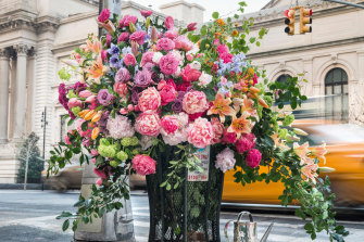 Lewis Miller Design's 'guerrilla' floral installation in New York City as shown in <i>Flower: Exploring the World in Bloom</i>.