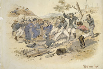 An illustration of the anti-Chinese Lambing Flat riot in 1860.