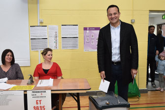 Taoiseach Leo Varadkar casts his vote in the Irish Election in Dublin, Ireland. Ireland has gone to the polls following Taoiseach Leo Varadkar's decision to call a snap election.