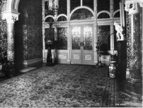 The 1890 wall paper, pictured in 1901. A replica is planned for a now bare patch, at left of the Rippon Lea entrance doors.