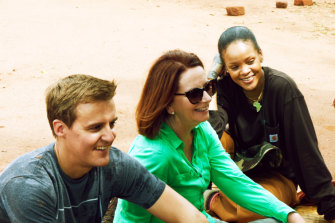Julia Gillard with Hugh Evans, CEO of youth charity Global Citizen, and pop star Rihanna, an ambassador for The Global Partnership For Education, in Malawi.