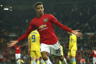 Manchester United's Mason Greenwood celebrates his match-winning goal in the Europa League.