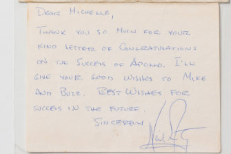 The letter from Neil Armstrong to Queensland teenager Michelle Roshanbin (Cooke at the time).