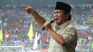 Prabowo campaigning unsuccessfully in Jakarta's central stadium for the 2014 presidential election.