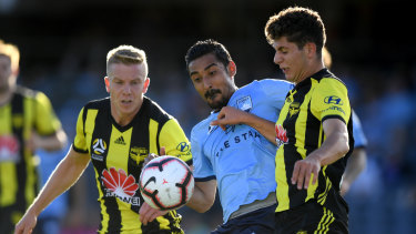 Patience needed: Reza Ghoochannejhad competes for possession with Liberato Cacace of the Phoenix, right, at Campbelltown Sports Stadium.