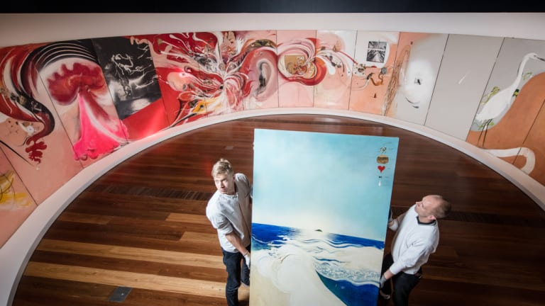 NGV staff installing Brett Whiteley's American Dream 'in the round'.