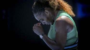 Down and out: Serena Williams reacts at the end of the match.