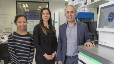 Professor Matthew Cook from the ANU's college of Health and Medicine, with researchers Chelisa Cardinez (left) and Bahar Miraghazadeh.