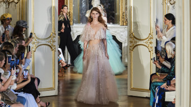 A model wears a gown by Steven Khalil in his debut show at Paris Couture Week.
