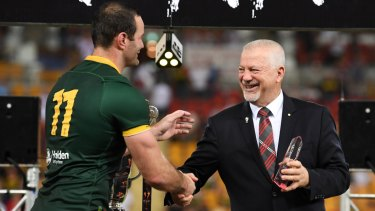 NSWRL chairman George Peponis with Boyd Cordner during the World Cup.