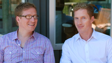 Andrew Sean Greer (at right) with his twin brother, Michael.