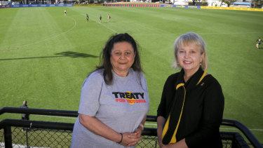 Indigenous activist Jill Gallagher with Richmond president Peggy O'Neal.