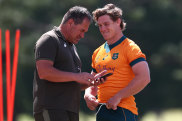 Wallabies coach Dave Rennie and captain Michael Hooper on Friday.