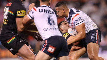 Sio Siua Taukeiaho's contentious high shot on Nathan Cleary, which earned him 10 minutes in the bin.