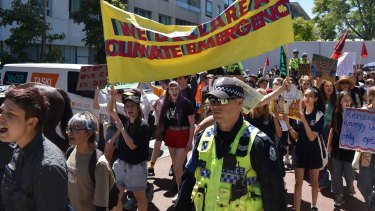 Climate activists picketed the Resources Technology Showcase in Perth.
