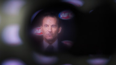 The AFL's general counsel, Andrew Dillon, announcing the penalty for Jaidyn Stephenson on Wednesday.