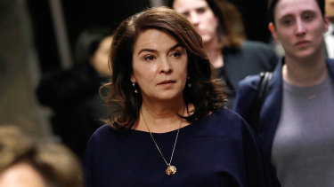 Annabella Sciorra, centre, gave evidence during the trial.