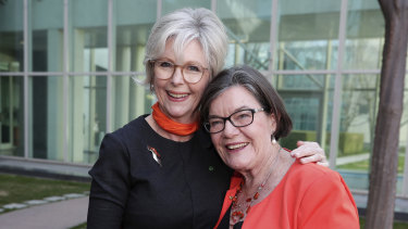 Independent MP Helen Haines and former MP for Indi Cathy McGowan.